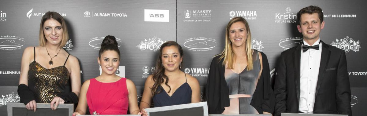 2017 AIMES Award Winners who were at the gala dinner held at the Bruce Mason Centre on Takapuna. From left: Melanie Bracewell, Alexia Hilbertidou, Alex Maloney, Molly Meech and Lewis Fry.
