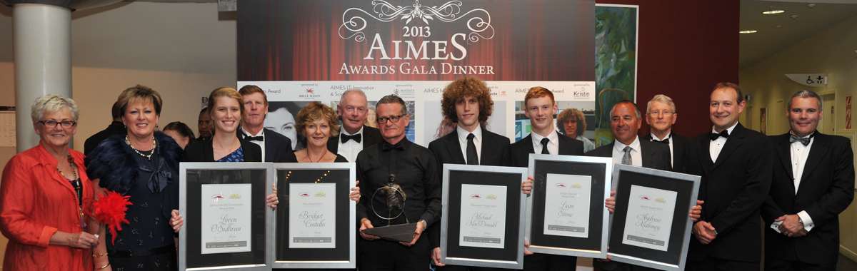 2013 AIMES Awards Winners, with AIMES Awards Judges, North Harbour Club representatives and relatives representing absent winners.
