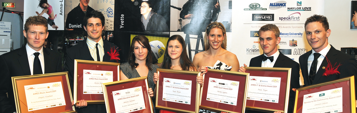 The 2009 AIMES Awards winners. Grayson Masefield, Representative for Amalia Hall (Absent), Adrienne Anderson, Yvette Perrott, Melissa Ingram, Daniel Playne, Cameron Calkoen. Also absent was Anna-Louise Dillon Herzog.